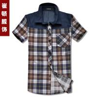 清仓下架-牛仔拼肩短袖衬衫[2色]